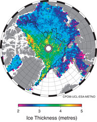 Arctic sea-ice thickness Jan-Feb 2011