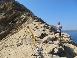 Using GPS equipment on Thera, Santorini