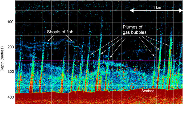 Sonar images of methane plumes, from Westbrook