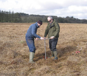 Peat coring at Tor Royal on Dartmoor