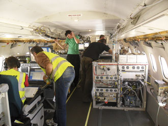 Scientists on the aircraft