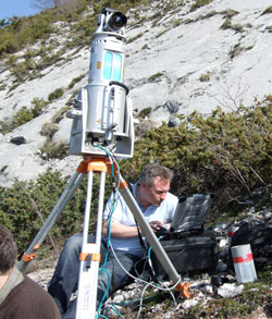 Scientist using LiDAR equipment