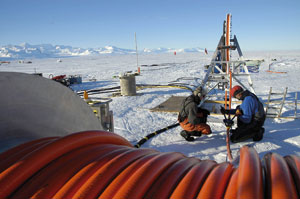 Hot-water drilling in the Antarctic