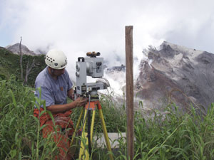 Preparing to survey a lava dome using ground-based LiDAR.