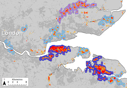 Map of mosquito habitats in the Thames estuary