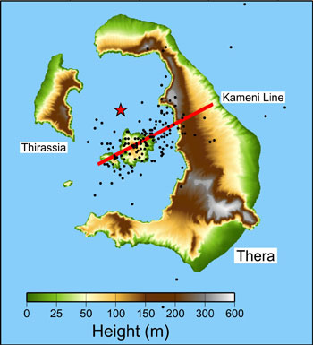 Map of Santorini volcanic activity