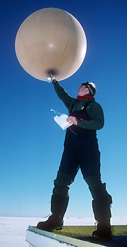 Launching weather balloon