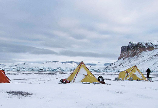 A field camp for glacial geologists on James Ross Island, northern Antarctic Peninsula.