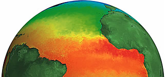 Globe showing ocean temperature