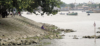 An important part of our research is investigating how reinforced riverbanks, like this one at Chandpur