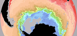 Snapshot illustration of Southern Ocean salinity