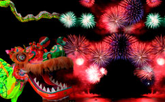 Chinese New Year with fireworks