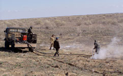 Spraying against bubonic plague in Kazakhstan